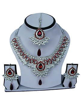Silver N Red Zircon Stone Necklace Set