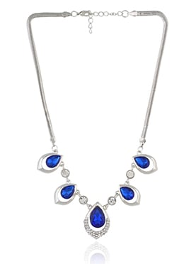 Silver N Royal Blue Stone Necklace