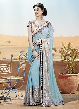 Silver N Sky Blue Net Lycra Saree