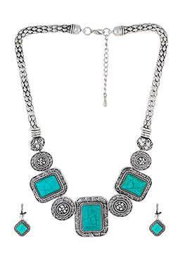 Silver N Turquoise Necklace Set