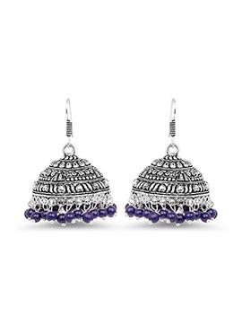 Silver N Violet Beads Hooks Earring