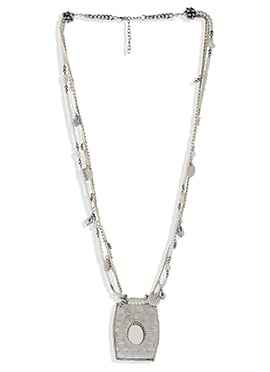 Silver N White Beads Chain Necklace
