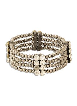 Silver N White Bracelet