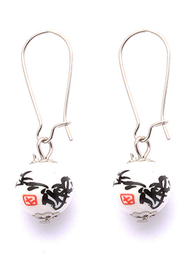 Silver N White Hoop Earrings