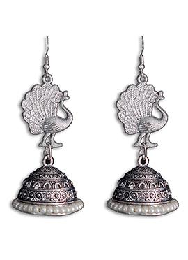 Silver N White Jhumka Earring
