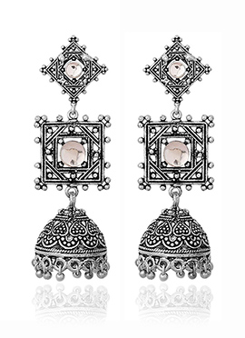 Silver N White Jhumka Earrings