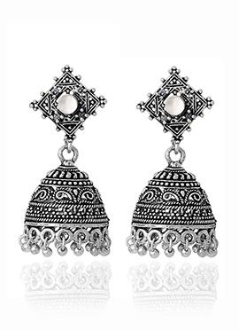 Silver N White Jhumka Earrings