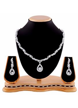 Silver N White Stone Necklace Set