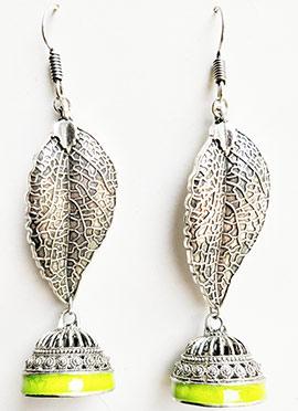 Silver N Yellow Dangler Earrings