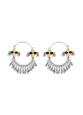 Silver N Yellow Hoops Earring