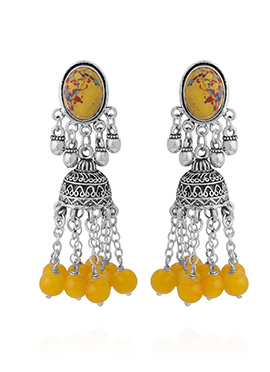 Silver N Yellow Jhumka Earrings