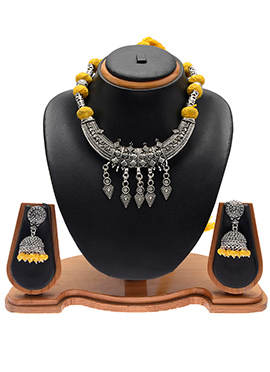 Silver N Yellow Necklace Set