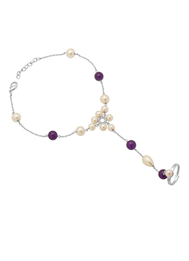 Silver Plated Purple Beads Chain Anklet