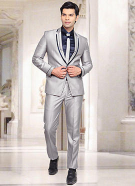 Silver Rayon Lapel Suit