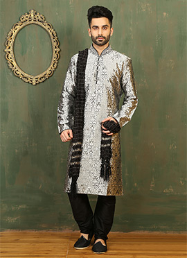 Silver Satin Brocade Kurta Pyjama