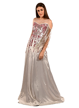 Silver Sequins Work Gown