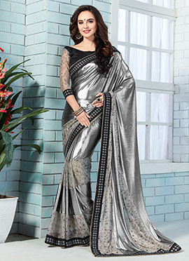 Silver Shimmer Georgette Net Saree