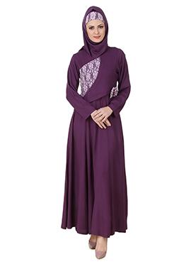 Sireen Crepe Purple Abaya
