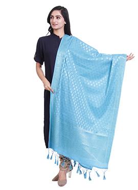 Sky Blue Art Benarasi Silk Dupatta