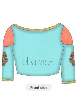 Sky Blue Art Dupion Silk Cold Shoulder Embroidered Blouse