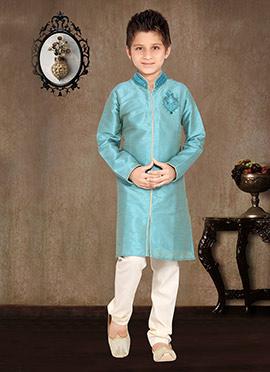 Sky Blue Art Dupion Silk Kids Kurta Pyjama