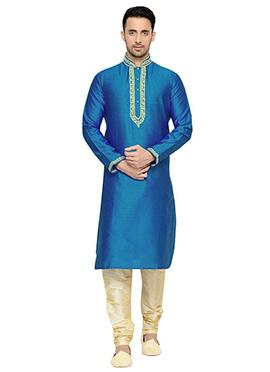 Sky Blue Art Dupion Silk Kurta Pyjama