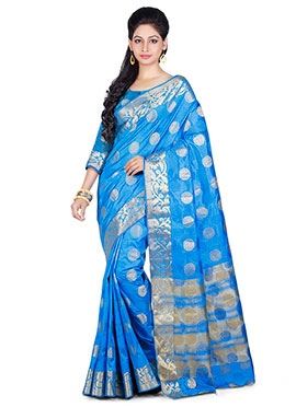 Sky Blue Art Kancheepuram Silk Saree