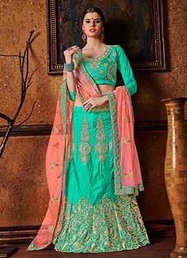 Turquoise Art Silk A Line Lehenga