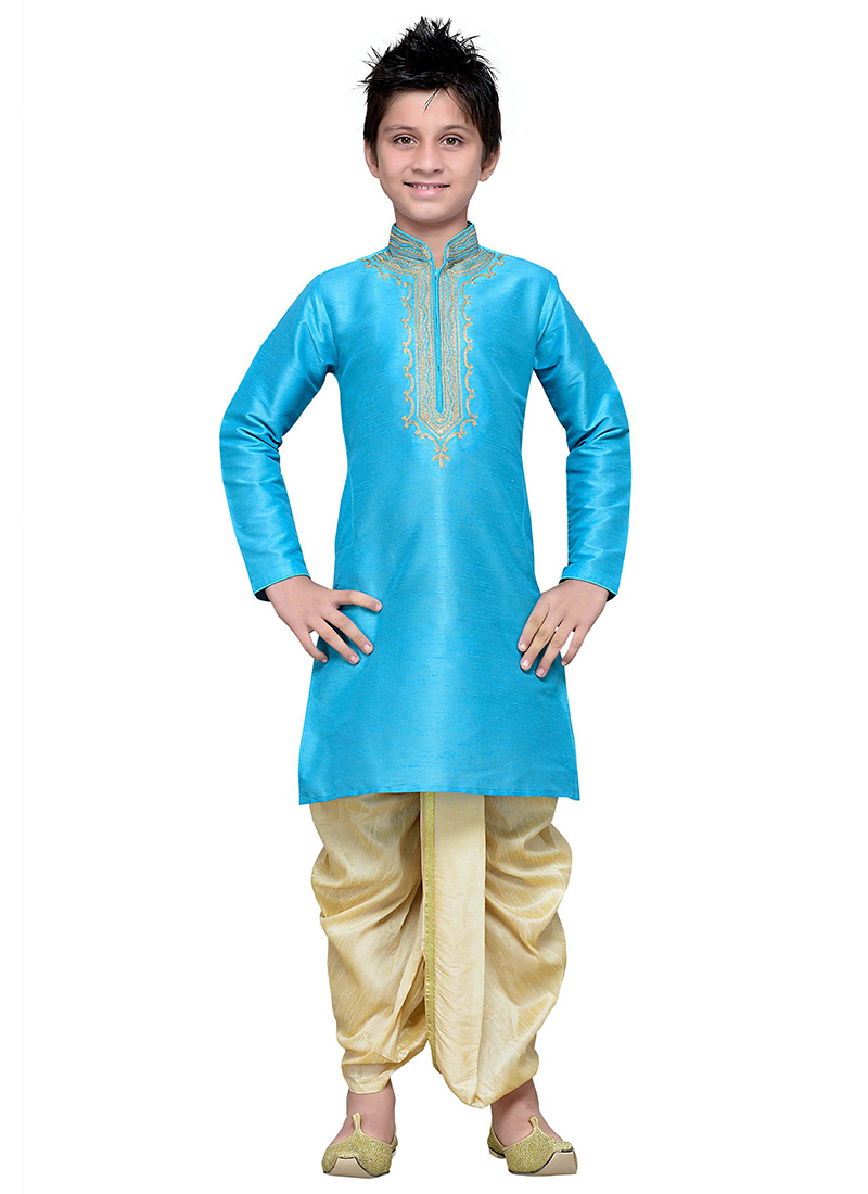 Buy Sky Blue Art Silk Boys Dhoti Kurta, Embroidered, boys dhoti ...