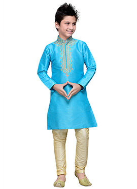 Sky Blue Art Silk Boys Kurta Pyjama