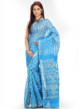 Sky Blue Art Silk Cotton Saree