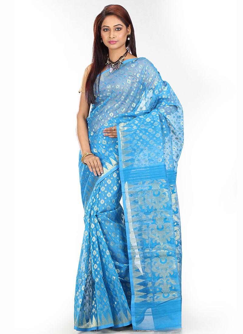 3f46e0e92 Buy Sky Blue Art Silk Cotton Saree
