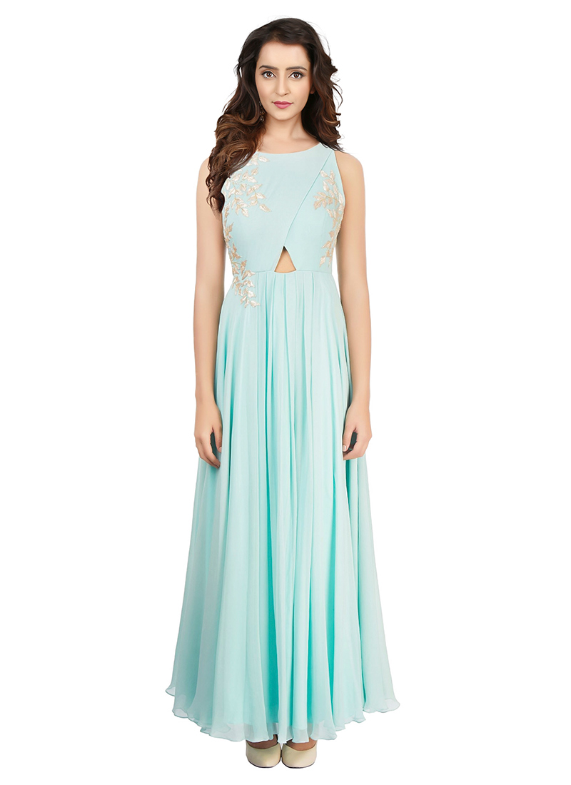 Buy Sky Blue Art Silk Gown, Embroidered, dresses and gown Online ...