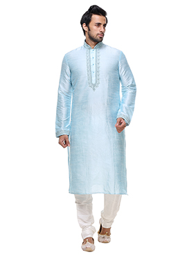 Sky Blue Art Silk Kurta Pyjama