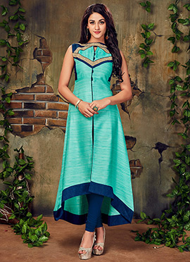Sky Blue Art Silk Long Kurti