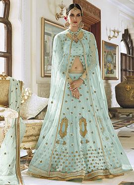 Pale Blue Art Silk Net A Line Lehenga