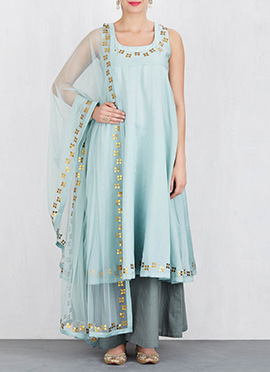 Sky Blue Art Silk Palazzo Suit