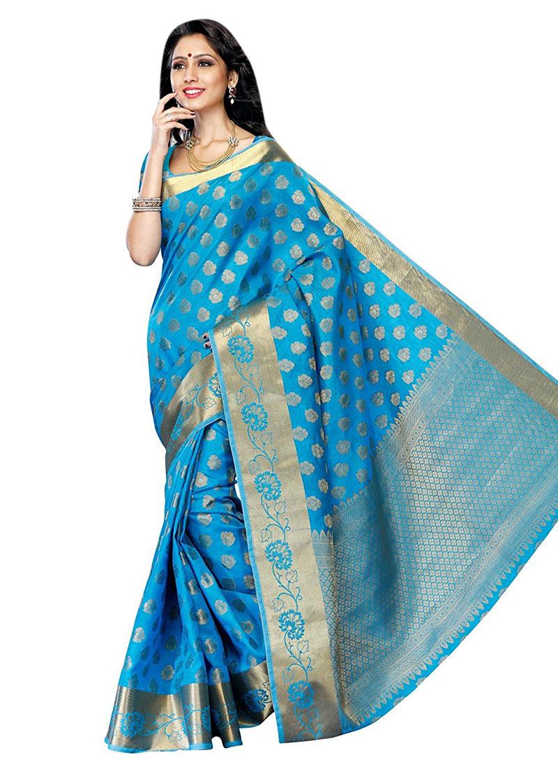 buy sky blue art silk saree zari tussar sari online shopping sadsfcns5294. Black Bedroom Furniture Sets. Home Design Ideas