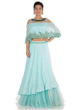 Sky Blue Art silk Skirt Set
