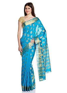Sky Blue Art Tussar Silk Zari Woven Saree