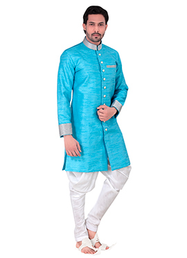Sky Blue Benarasi Art Silk Achkan Sherwani