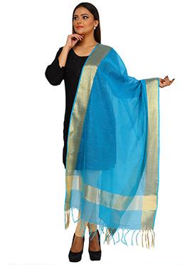 Sky Blue Benarasi Art Silk Dupatta