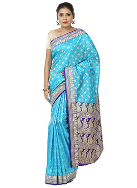 Sky Blue Benarasi Art Silk Saree