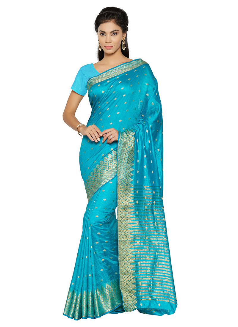 buy sky blue benarasi silk saree sari online shopping sasht5013. Black Bedroom Furniture Sets. Home Design Ideas
