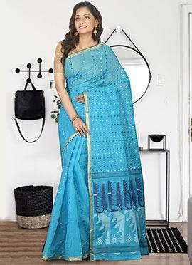 Sky Blue Bengal Handloom Tant Saree