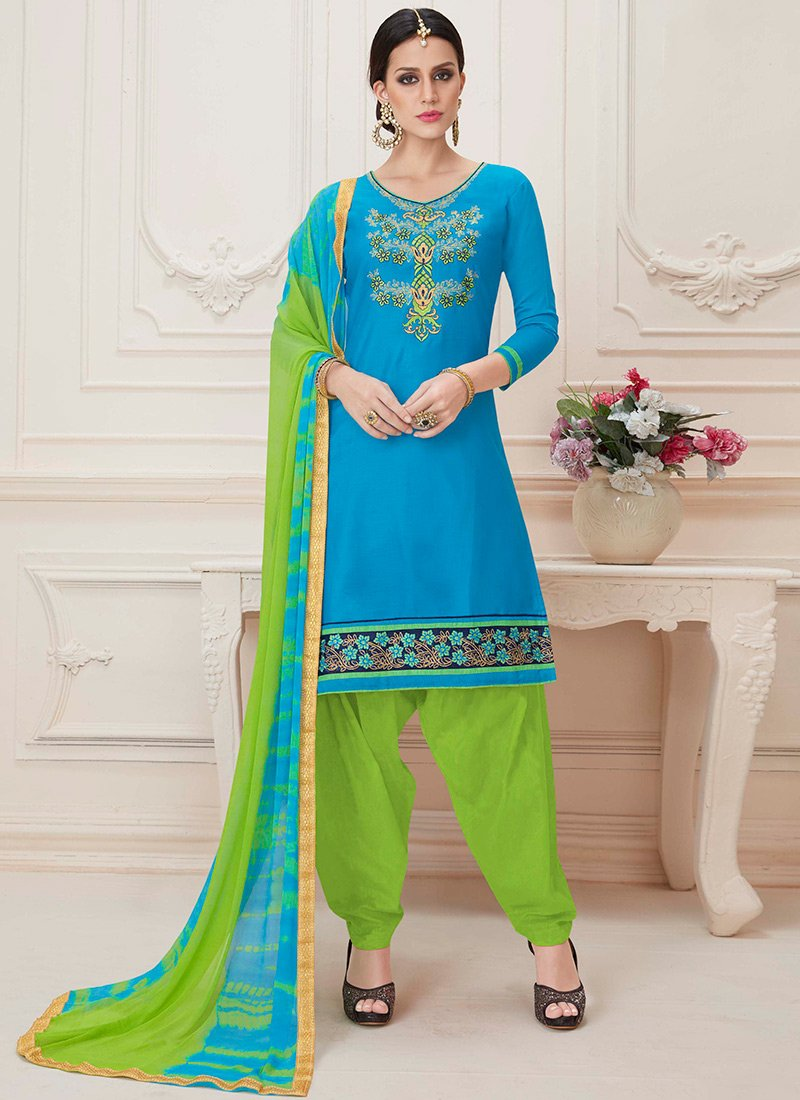 99d04badd9 Buy Sky Blue Blended Cotton Patiala Suit, Embroidered, salwar suit ...