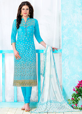 Sky Blue Blended Cotton Straight Suit