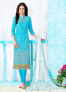 Sky Blue Chanderi Cotton Churidar Suit
