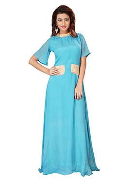 Sky Blue Chiffon Anarkali Gown