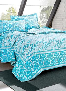 Sky Blue Cotton Bed Sheet Set